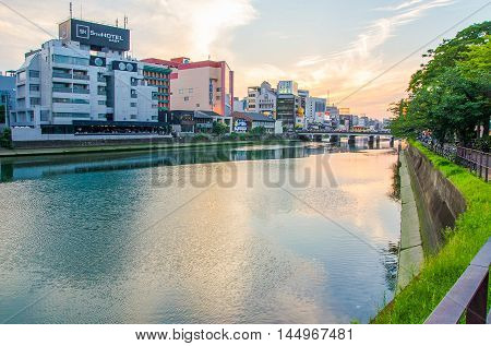 Fukuoka Japan - June 29 2014:View of Naka River (one of the main river in Fukuoka City) from Tenjin Zone