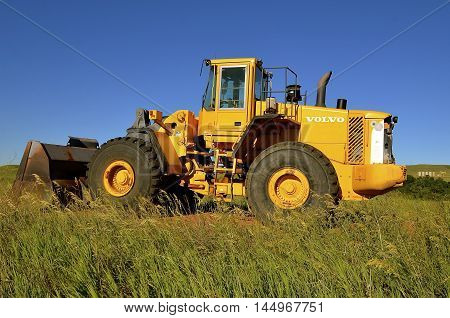 WATFORD, NORTH DAKOTA, June 24, 2016: Volvo Construction Equipment - Volvo CE is a major international company that develops, manufactures and markets equipment for construction and related industries.