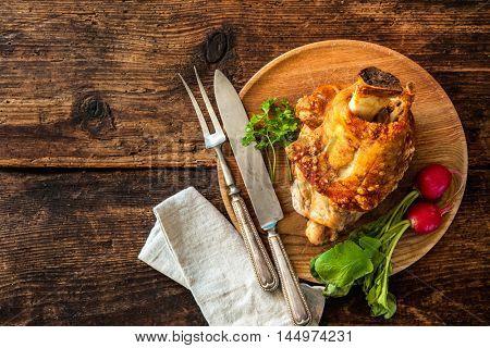 Appetizing Bavarian grilled pork knuckle. Oktoberfest