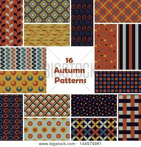 Autumn seamless pattern set. Vintage vector background. Geometric frame repeat wallpaper. Decorative elements collection. Abstract texture. Fashion design, elegant fabric print, paper wrapping