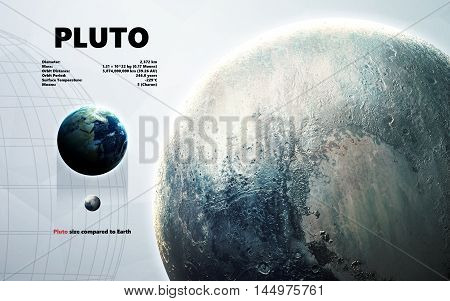 Pluto. Minimalistic style set of planets in the solar system. Elements of this image furnished by NASA