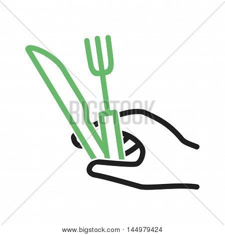 Plate, fork, knife icon vector image. Can also be used for hand actions. Suitable for use on web apps, mobile apps and print media