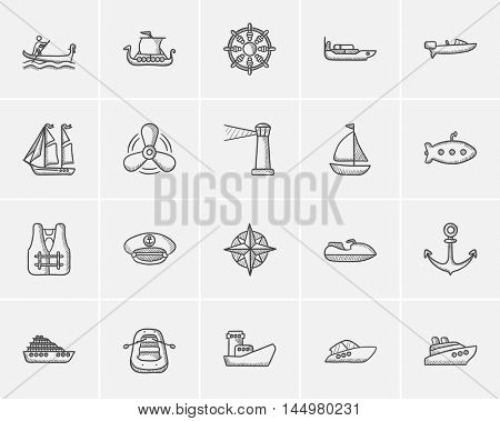 Transportation sketch icon set for web, mobile and infographics. Hand drawn transportation icon set. Transportation vector icon set. Transportation icon set isolated on white background.