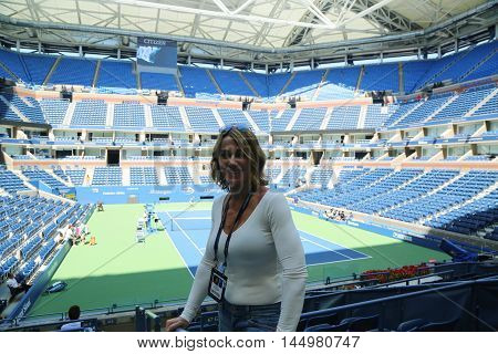 NEW YORK - AUGUST 28, 2016: World famous gymnast Nadia Comaneci of Romania visits Billie Jean King National Tennis Center during US Open 2016