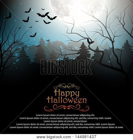 Illustration of  Halloween background with creepy forest with bats on full moon