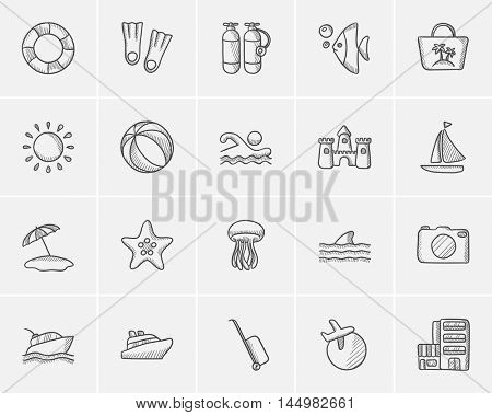 Travel and holiday sketch icon set for web, mobile and infographics. Hand drawn travel icon set. Travel and holiday vector icon set. Travel and holiday icon set isolated on white background.