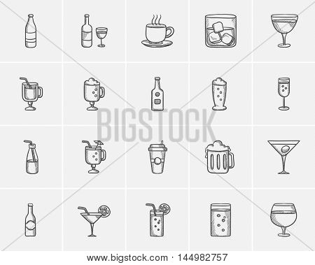 Drinks sketch icon set for web, mobile and infographics. Hand drawn drinks icon set. Drinks vector icon set. Drinks icon set isolated on white background.