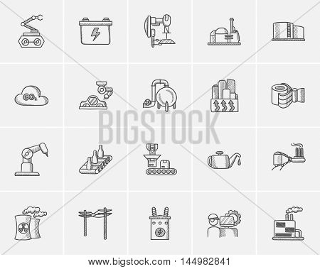 Industry sketch icon set for web, mobile and infographics. Hand drawn industry icon set. Industry vector icon set. Industry icon set isolated on white background.
