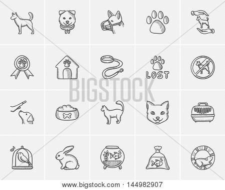 Pets sketch icon set for web, mobile and infographics. Hand drawn pets icon set. Pets vector icon set. Pets icon set isolated on white background.