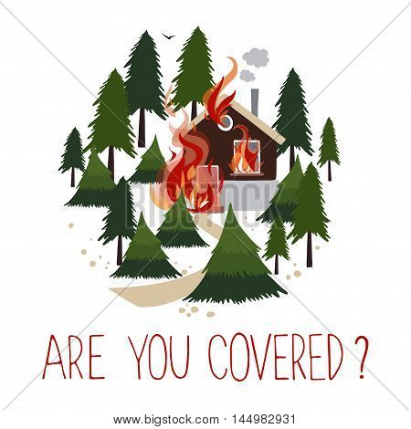 Wild fire in a forest. Burning house. Icon for advertising insurance. Vector illustration.