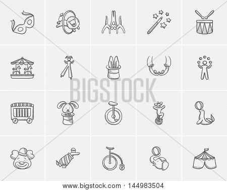 Circus sketch icon set for web, mobile and infographics. Hand drawn circus icon set. Circus vector icon set. Circus icon set isolated on white background.