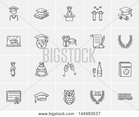 Education sketch icon set for web, mobile and infographics. Hand drawn education icon set. Education vector icon set. Education icon set isolated on white background.