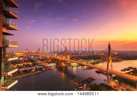 The Bhumibol Bridge also known as the Industrial Ring Road Bridge at twilight Bangkok Thailand.
