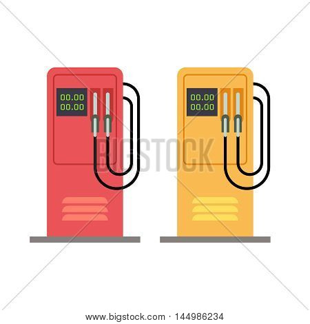 Gas station pump with gasoline petrol flat vector illustration. Petrol station service isolated on white background
