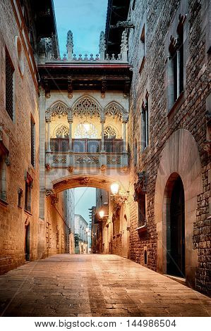 Barri Gothic Quarter and Bridge of Sighs in Barcelona Catalonia Spain