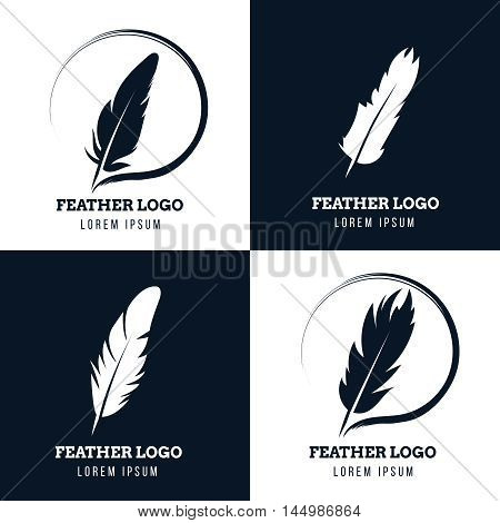 Feather, elegant pen, law firm, lawyer, writer literary vector logos set. Emblem with fluffy plume silhouette illustration