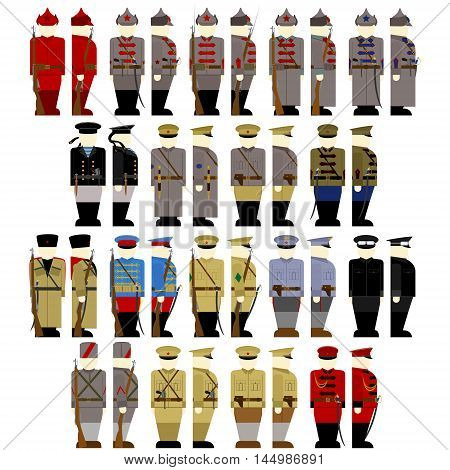 Insignia soldiers and officers of the Red Guards in Russia in 1917. The illustration on a white background.