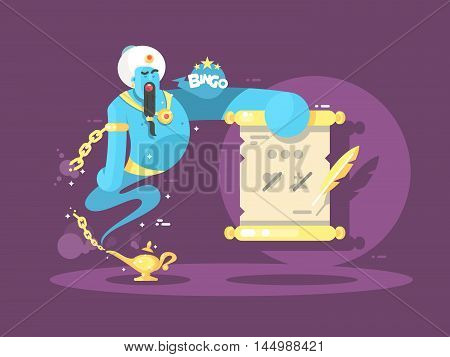 Genie from lamp offering 3 wishes to choose. Vector illustration.