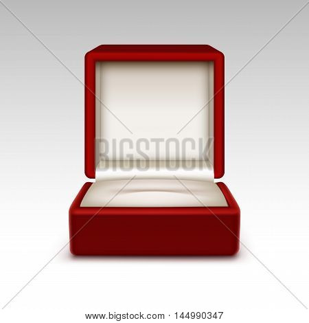Vector Empty Red Velvet Opened gift jewelry box Close up Isolated on White Background