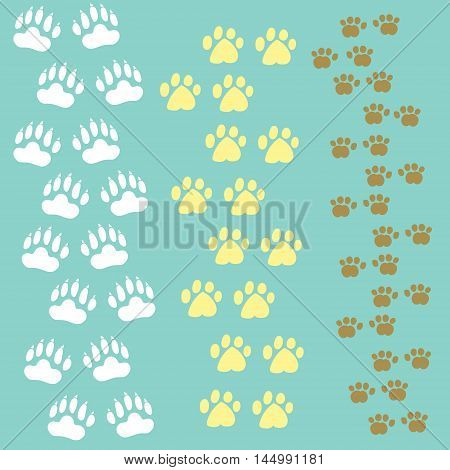 Vector set of most recognizable paws isolated on blue. Decoration of pets and animal production food and accessories. Design element.