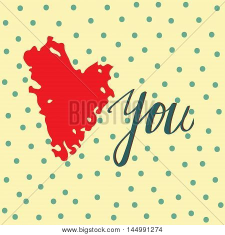 Vector postcard image for declaration of love. Red chalky heart on spotted background. Vintage style. Textile postcard wallpaper stationery web picture.