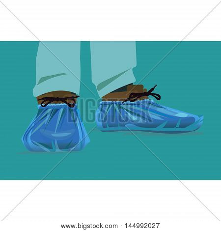protection on its feet for the hospital shoe covers cellophane blue vector Blue medical shoe covers are worn over shoes on the floor in hospital black leather mens shoes in overshoes