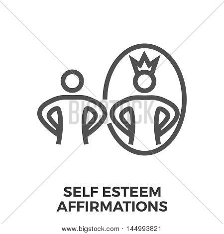 Self esteem affirmations thin line vector icon isolated on the white background.