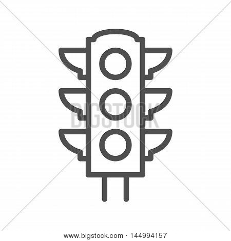 Traffic light thin line vector icon isolated on the white background.