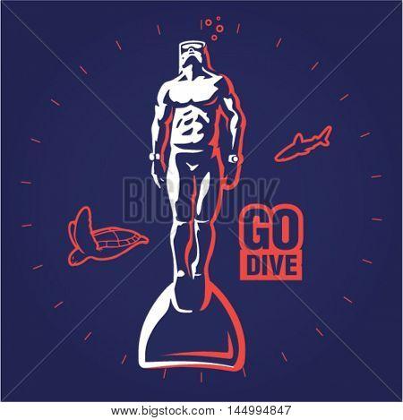 Freediver. logo illustration on a dark background
