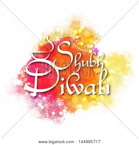 White Hindi Text Shubh Diwali (Happy Diwali) on abstract colorful splash background, Elegant Greeting Card design for Indian Festival of Lights celebration.