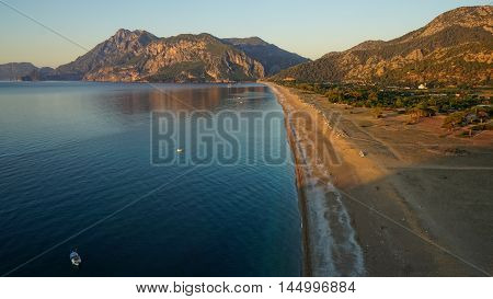 Southern coast of Turkey.Calm blue sea and clear sky. View of Mediterranean Sea. Spring sunny day in Antalya province Turkey.