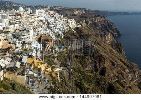 Panoramic view to town of Fira, Santorini island, Thira, Cyclades, Greece