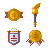 Trophy sports awards and sport awards in flat design style. Sports awards vector and gold winner cup sports awards. Sports awards trophy victory prize cup achievement, champion win competition. poster