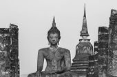 Sukhothai historical park the old town of Thailand in 800 year ago Black and white tone poster
