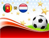 Cameroon versus Netherlands on Abstract Red Background with Stars Original Illustration poster