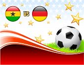 Ghana versus Germany on Abstract Red Background with Stars Original Illustration poster