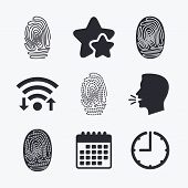 Fingerprint icons. Identification or authentication symbols. Biometric human dabs signs. Wifi internet, favorite stars, calendar and clock. Talking head. Vector poster