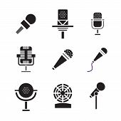Different microphones types icons. Journalist vector microphone, interview , music studio. Web broadcasting microphone, vocal tool, tv show microphone. poster