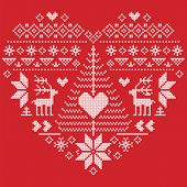 Heart Shape Scandinavian Printed Textile  style and inspired by  Norwegian Christmas and festive winter seamless pattern in cross stitch with Christmas tree, snowflakes, reindeer,  heart and ornament on red background poster