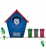 Bird house with recycling wheelie bins for collection poster