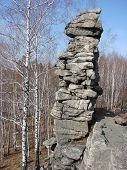 Seven Brothers - buttes. Mountain Semibratskaya. Sverdlovsk region. Russia. poster