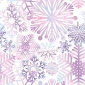 Snow winter holiday background. Snowflakes texture. Blue snow falling on white background gentle seamless pattern. Christmas ornament. poster