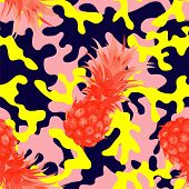 Trendy camo military urban seamless vector pattern with tropical fruit pineapple. Abstract background navy army khaki illustration in pink yellow color scheme poster