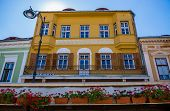 Tenement house at Nicolae Balcescu Boulevard in Sibiu city in Romania poster
