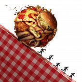 Cholesterol health danger as Junk food eating and dealing with a nutrition medical urgency concept as people running away to avoid an unhealthy diet with a ball made of greasy snacks as hamburgers and french fries with 3D illustration elements. poster