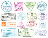 International business travel visa stamps vector arrivals sign. Set of variety rubber stamp city illustration poster