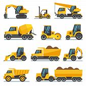 Industrial construction equipment and machinery flat vector icons excavator and tractor, bulldozer and industrial loader illustration poster