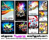 Set of 9 Abstract Music Background for Discoteque Flyer with a lot of design  elementes - Set 5 poster