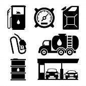 Gas station vector icons set. Gas icon, car and oil icon, fuel gasoline icon illustration poster