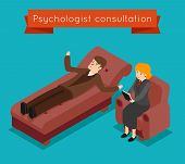 Psychologist consultation. Vector mental problems concept in 3D isometric style. Patient and mental therapy, problem psychologist, health psychology, consultation psychologist illustration poster
